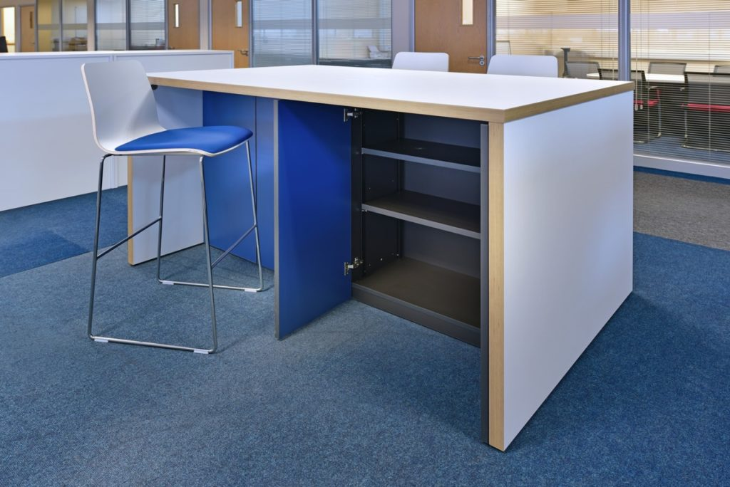 Panel ended high table with storage cupboards underneath. Perfect for catching up with a few emails, collaborating with colleagues on your latest proposal or for brief meetings. Stand up for a while, or choose some of our bar height stools.