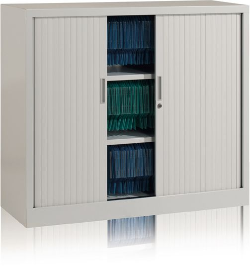 Tambour Cupboard, 1050mm H x 1000mm W, 2 shelves, CAT 2 STK