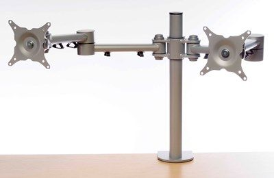 Height Adjustable Monitor Arm for 2 Flat Screens Silver #