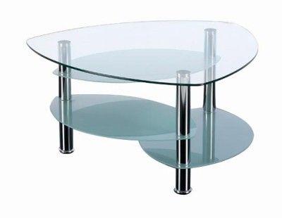 Teardrop shape three tier glass coffee table for Three tier glass coffee table