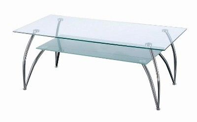 Rectangular Shaped Two Tier Glass Coffee Table
