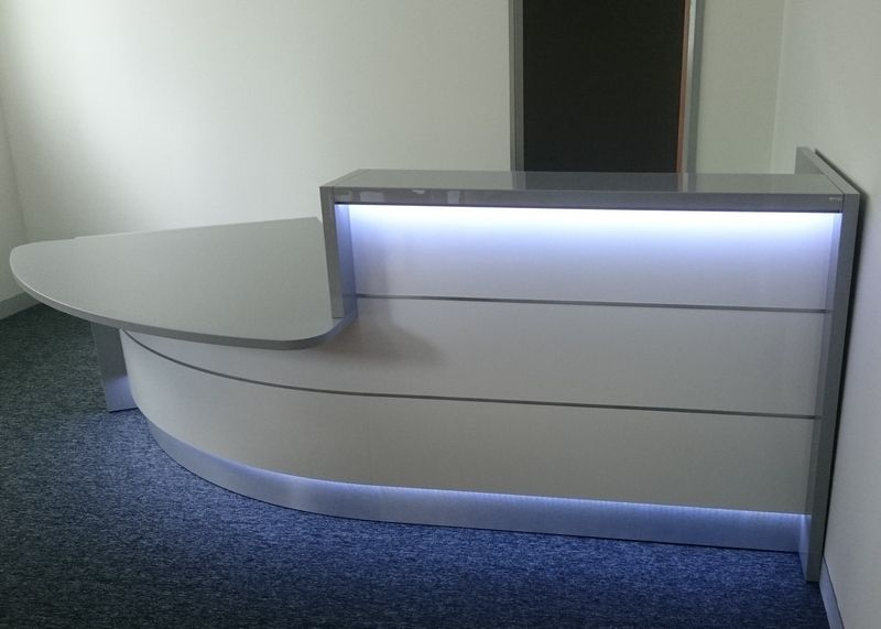 Grey High Gloss Reception Desk With Led Lighting