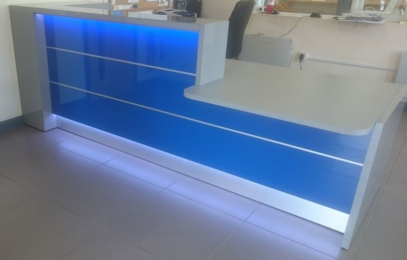 High Gloss Blue Reception Desk