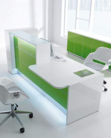 Valde Modern White Reception Counter High Gloss Green Laminate And Led Lighting