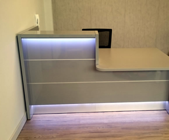 High Gloss Grey Reception Desk with LED Lighting