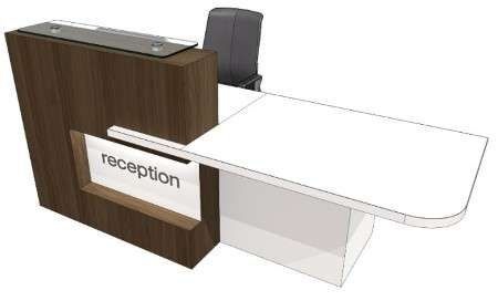 reception counter xpression in walnut and white finish